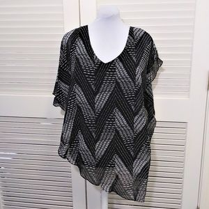 Cache Black n White Flowy Overlay Top over Tee